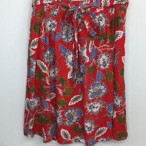 Loft | Floral Tie Waist Skirt Midi Length